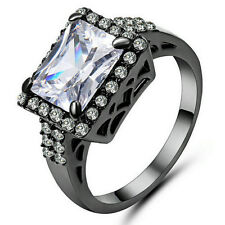 Size 7 White Sapphire Wedding Band Ring Black Rhodium Plated Party Jewelry