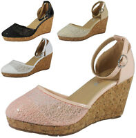NEW WOMENS LADIES ANKLE STRAP PLATFORM SEQUIN MID WEDGE HEEL SHOES SANDALS SIZE
