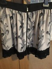 Womens Topshop Black And Dusky Pink Zip Up Feather Mini Skirt Size 10