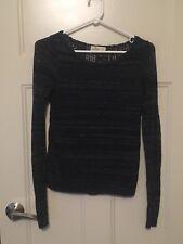Hollister Women's Sweater Top XS Dark Navy Blue Full Crochet Back Thin Sparkle