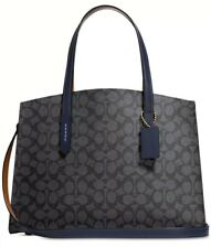 New Coach Charlie Medium satchel  signature carryall 31210 PVC bag charcoal navy