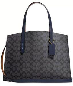 New Coach Charlie Medium satchel  signature carryall 31210 PVC bag charcoal navy