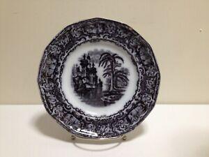 """🔴⚪🔵 Antique E.Challinor & Co. Calcutta 8 3/4"""" Black Transferware Plate ~ Chip"""