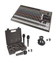 Behringer SX2442FX 24-Channel Mixer Board w/FX, 9X Handheld Mics & 9X XLR Cables