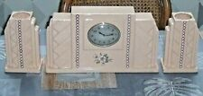 Ensemble Horloge Pendule de Cheminée Faïence Céramique Emaux Longwy