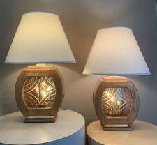 Pair Vintage Mid Century Danish Modern Light Up Base Circa 1970s 1980s Lamps