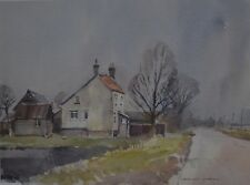 """David Green ROI NS (English, 1935 - 2013) """"The House by the Road"""" Watercolour"""