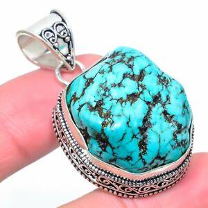 "Turquoise Gemstone Handmade Ethnic Jewelry Pendant 1.85"" UL"