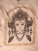 Terranova Damen T-Shirt Weiß Buddha Gold Print Gr S Top Bluse Oberteil Rundhals