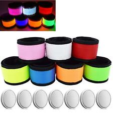 Led Glow Slap Bracelet 7pc Reflective Wrist Arm Band Cycling Walking Running New