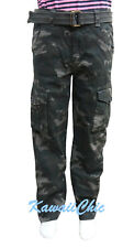 Ring Of Fire Black Camo Verdes Belted Cargo Pants Youth Big Boys Size 12,18