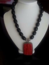 NEW Black Resin And Cinnabar Pendant  Statement Necklace  - Very Special