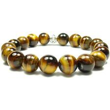 Tiger's Eye 10mm Round Crystal Bead Bracelet with Description Card