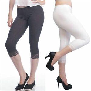 Women Cropped Lace Trim Leggings Black White S-XXL (Au Size 8-20) 3/4 Length