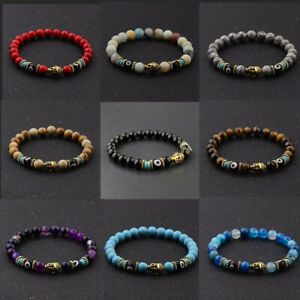 Natural Obsidian 8mm Beads Gold Buddha Head Men Women Bracelets Handmade Jewelry