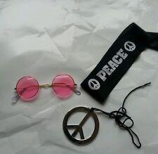60s 70s hippie glasses peace sign headband necklace fancy dress hippie kit
