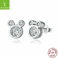 Authentic 925 Sterling Silver Dazzling Mouse Stud Earring For Women Fashion Gift