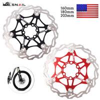 160/180/203mm Stainless Steel MTB Mountain Bike Brake Disc Float Rotor Pad Snail
