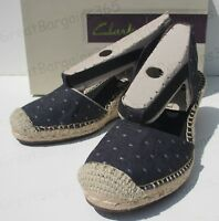 Clarks Women's Petrina Kaelie Espadrille Wedge Sandals Blue Black UK 3.5 4 New