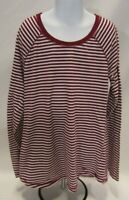 Girls Size 14 Burgundy and White Striped Justice Long Sleeve T-Shirt