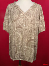 Plus Size Croft & Barrow 3X Beige and White Short Sleeve Half Button Top
