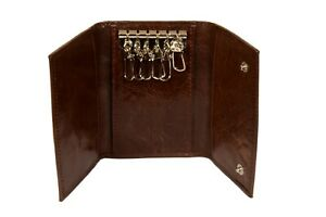 Genuine Leather Key Chain Pouch and Credit Card Holder with Case Note - Brown