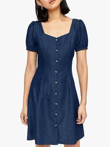 Warehouse Womens Mid Blue Denim Fitted Button Thu Western Shirt Mini Dress 6-18