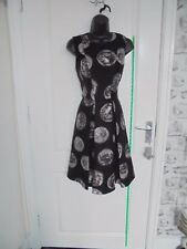 Ladies COLLECTION LONDON Size 12 Black & Multi Coin Pattern Skater Dress #2093
