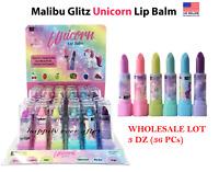 Malibu Glitz Unicorn Fruity Magic Lip Balm Set - WHOLESALE LOT 3 DZ (36 PCs)