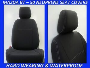 FITS MAZDA BT-50 MK2 UR  FRONT&REAR NEOPRENE SEAT COVERS FULL BACKS 4xMAP POCKET