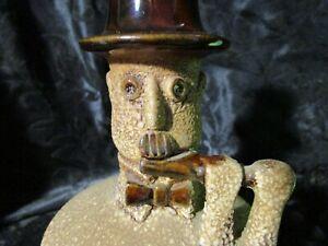 Vintage Royal Heager Man with Flute Candle Stick Holder sand and glaze