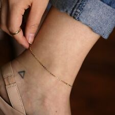 Solid Gold Anklet Layering Jewelry Thick Raso Chain Anklet Simple 14K