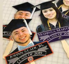 5-Graduation Fans Personalized w/ Name Picture, School Colors.