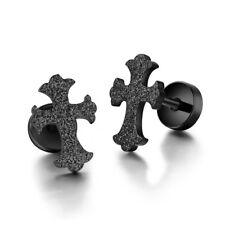 TT Black Surgical Steel Cross Fake Ear Plug Earrings (BE252D) NEW