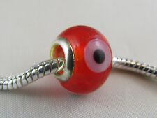 "SILVER CORE MURANO ""EVIL EYE"" GLASS BEAD FOR EURO STYLE CHARM BRACELET (MSB 485)"