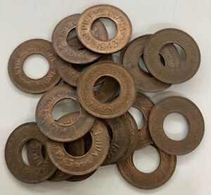 1 Pice Hole Coins Unc Lot of 16 Ancient India Old Copper Coins 1943