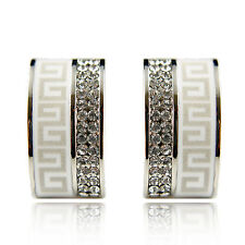 18k white Gold plated Swarovski elements huggie crystals earrings
