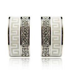 18k white Gold plated Swarovski elements huggie crystals earrings