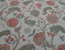Sanderson Curtain Fabric 'PALAMPORE' 2 METRES (200cm) Green/Red - 100% Linen