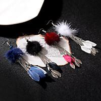 2020 Women Round Wool Long Chain Tassel Earring Drop Leave Feather Hook Earrings