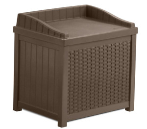 🔥Deck 22 Gal. Java Resin Wicker Storage Seat Durable Waterproof Box Patio Bench