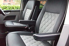.VW TRANSPORTER .T5 2 CAPTAINS VINYL SEAT COVERS BENTLEY STYLE SUPERB QUALITY
