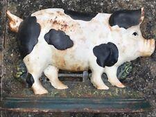Original Vintage Country Pig Cast Iron Animal Door Stay Stop Boot Scraper