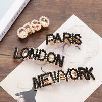 Girl's New York Tokyo Paris London Letter Pearls Hair Clip Alloy Hairpins~