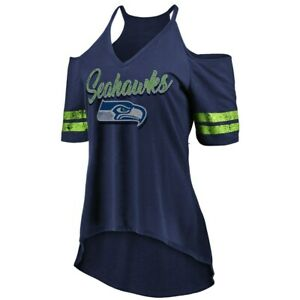 NWT Majestic Seattle Seahawks Womens Game Day Sizzle Cold Shoulder T-Shirt M