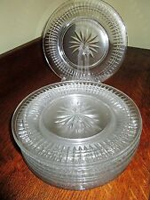 11 Vintage 1937 Brilliant Cut Crystal Salad Plates Fields Chicago Vertical 8 1/2