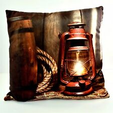 LED THROW PILLOW w/Light  6 Hour Timer Western Lantern w/ Rope ~ 15 x 15