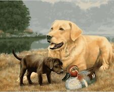 DOGS WITH DUCK PAINTING PAINT BY NUMBERS CANVAS KIT 20 x 16 ins FRAMELESS
