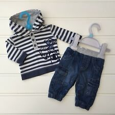 Baby Boy Clothes 0-3 Months Disney Outfit Stripy Tigger Hoodie Top & Jeans Set