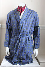 vintage St Michael blue paisley square dressing gown smoking jacket 60s mens S
